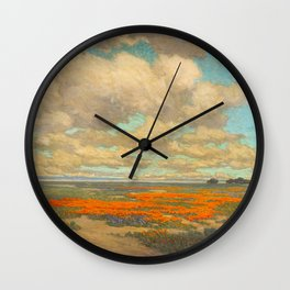 1911 Granville Redmond - A Field of California Poppies Wall Clock