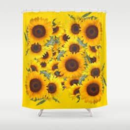 DECORATIVE WESTERN YELLOW SUNFLOWERS FIELDS Shower Curtain