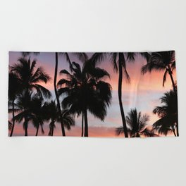 Tropical Palm Trees Sunset in Mexico Beach Towel