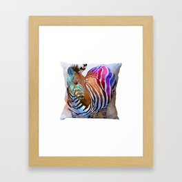 Digital Zebra Printed Cushion Cover Framed Art Print