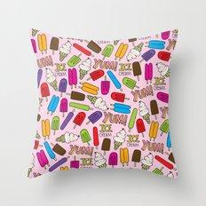Ice Cream Doodles Throw Pillow