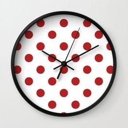 Polka Dots - Firebrick Red on White Wall Clock