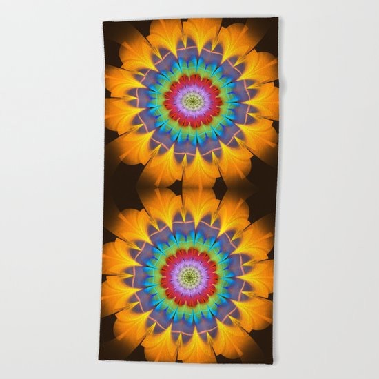 Tropical fantasy flower Beach Towel