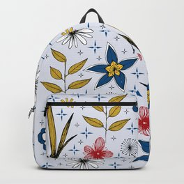 retro style floral print Backpack