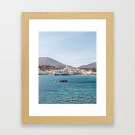 The Red Boat - Cadaques, Catalunya Framed Art Print
