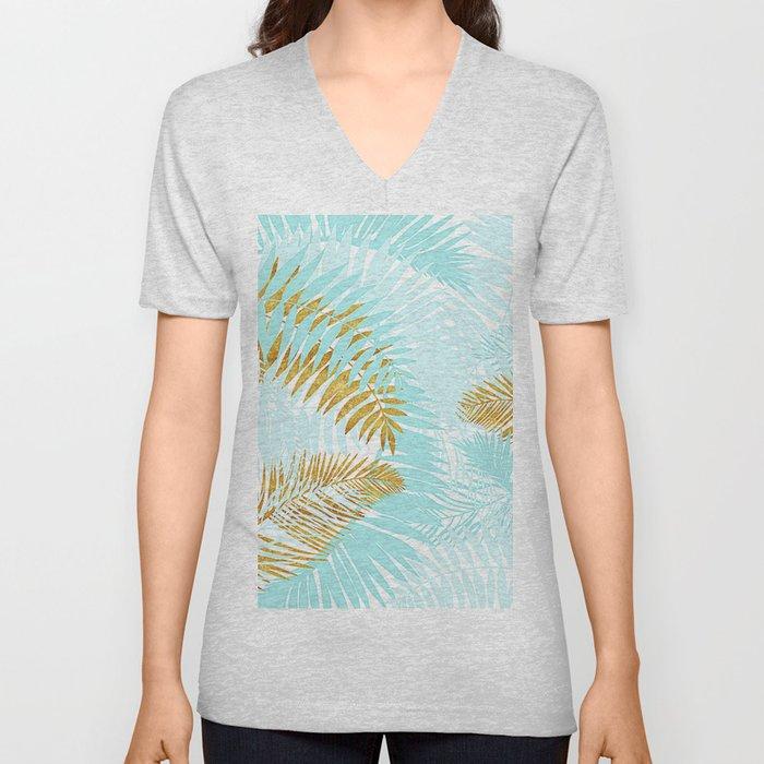 Aloha - Tropical Palm Leaves and Gold Metal Foil Leaf Garden Unisex V-Neck
