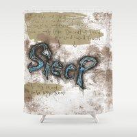 sleep Shower Curtains featuring sleep by Will Baten