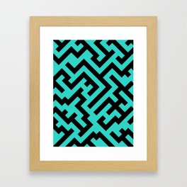 Black and Turquoise Diagonal Labyrinth Framed Art Print