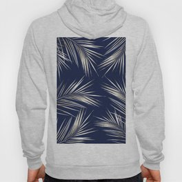 White Gold Palm Leaves on Navy Blue Hoody