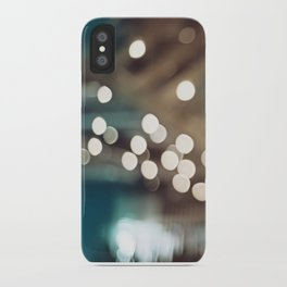 Teal Brown Abstract Light Photography, Turquoise Bokeh Sparkle Lights Art Print, Aqua Abstract Photo iPhone Case