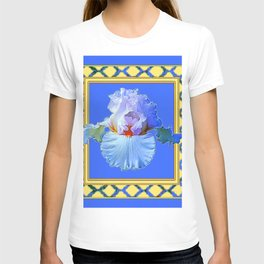 BLUISH-WHITE PASTEL IRIS FLOWER BOTANICAL ART T-shirt