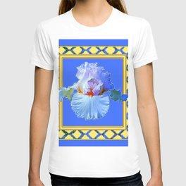 BLUISH-WHITE PASTEL IRIS FLOWER BOTANICAL ART T-shirt