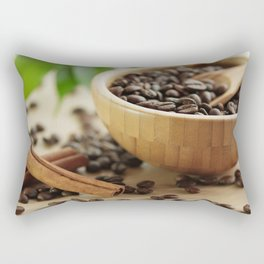 Still life of bamboo shell with fine Arabica coffee as kitchens Rectangular Pillow