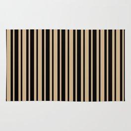 Tan Brown and Black Vertical Var Size Stripes Rug