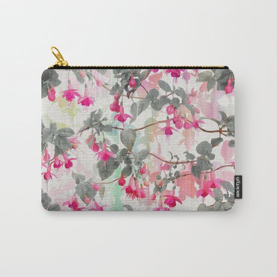Rainbow Fuchsia Floral Pattern - with grey Carry-All Pouch