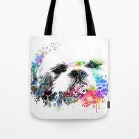 shih tzu Tote Bags featuring Shih TZU  by PhotosbySN
