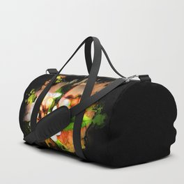 Beautiful tropical flowers on black Duffle Bag