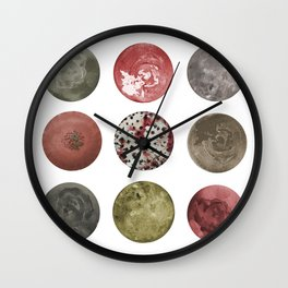 Abstract Planets in Pastel Earthy Tones Wall Clock