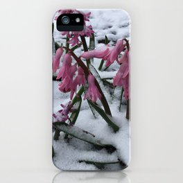 Wood Hyacinths in Snow iPhone Case