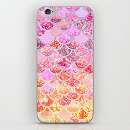 Rosegold & Gold Trendy Glitter Mermaid Scales iPhone Skin
