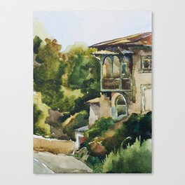 Old house near the road in Crimea watercolor landscape Canvas Print