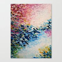jazzberry Canvas Prints featuring PARADISE DREAMING Colorful Pastel Abstract Art Painting Textural Pink Blue Tropical Brushstrokes by EbiEmporium