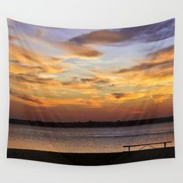 Sitting on the Bench by the Lake Wall Tapestry
