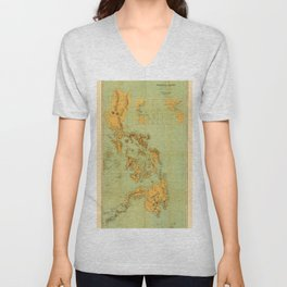 Map Of The Philippines 1898 Unisex V-Neck