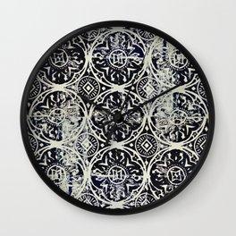 Navy Block Print Pattern Wall Clock