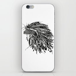 Native American Indian Headdress Warbonnet Black and White iPhone Skin