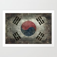 National flag of South Korea, officially the Republic of Korea, Vintage Desaturated version to scale Art Print