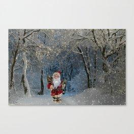 Santa claus in snowy landscape digital illustration Canvas Print