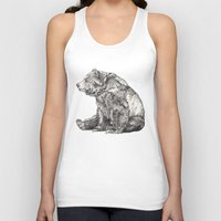 bag Tank Tops featuring Bear // Graphite by Sandra Dieckmann