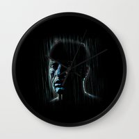 blade runner Wall Clocks featuring Blade Runner: Roy Batty by Renan Lacerda