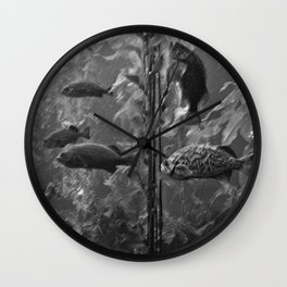 fish charcoal Wall Clock