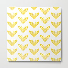 Butterfly Pattern Yellow 2 Metal Print