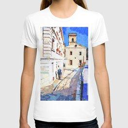 Borrello: foreshortening with man and church T-shirt