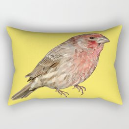 Red House Finch Songbird Digital Illustration Rectangular Pillow