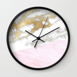 marble, gold & pink Wall Clock