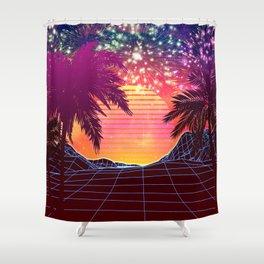 Festival vaporwave landscape with rocks and palms Shower Curtain