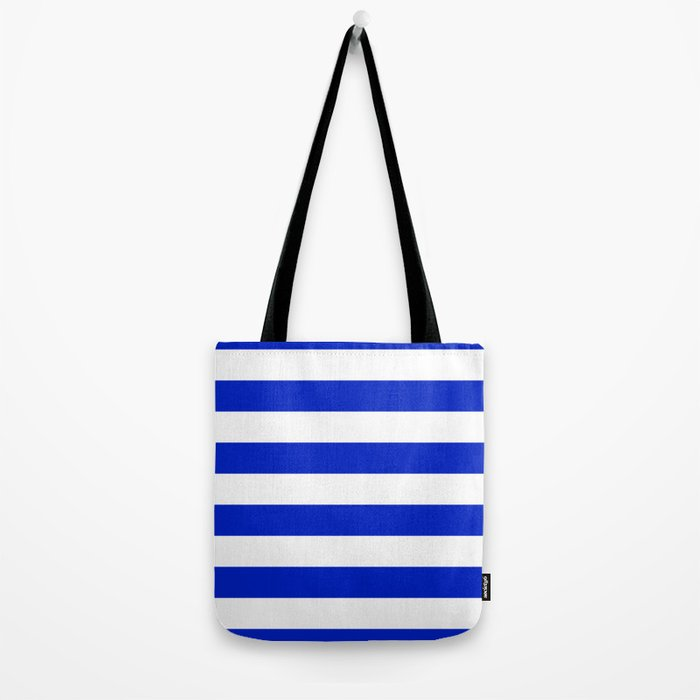 Cobalt Blue and White Wide Cabana Tent Stripe Tote Bag