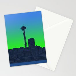 Seattle Skyline in Lime Green Stationery Cards