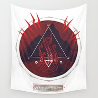 lovecraft Wall Tapestries featuring Mountain of Madness (red) by Hector Mansilla