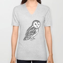 Grey Barn Owl Art Unisex V-Neck