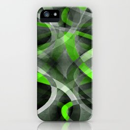 Eighties Vibes Lime and Grey Layered Curve Pattern iPhone Case