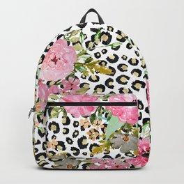 Elegant leopard print and floral design Backpack