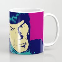 spock Mugs featuring Spock Logic by Vee Ladwa