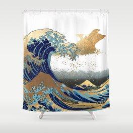 Great Waves by Hokusai at Kanagawa Shower Curtain
