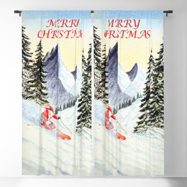Merry Christmas with Skiing Santa Blackout Curtain