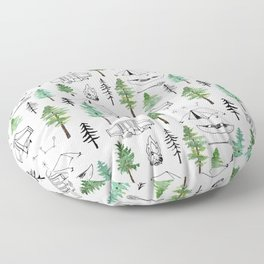 Camping and Trees Floor Pillow